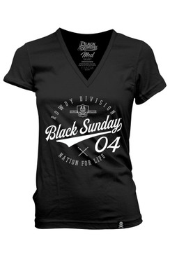 Black Sunday Script Women's V-Neck Tee