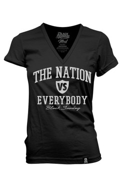 Nation Vs. Everybody Women's Foiled V-Neck Tee