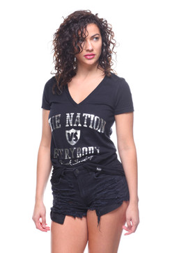 Nation Vs. Everybody Women's Foiled V-Neck Tee