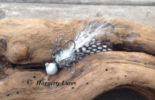 White Hellraiser Jig - Spotted guinea feather tail, hackle.