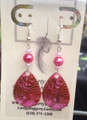 Pink Pearl Beads with Fish Stamped Candy Pink Spinner blades. Sterling Silver earrings, carded.