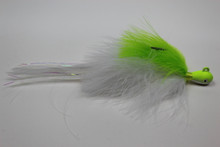 Chartreuse and White Holy Hannah marabou deceiver hair jig.