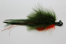 Crawdad Holy Hannah. Marabou Deceiver Hair Jig in Olive and Orange.
