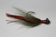"Shorty Joe Tear Drop - Watermelon Red Flake with Whiting grizzly feathers - 4"" long"