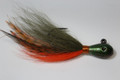"Shorty Joe Tear Drop Jig- Crawdad Olive and Orange with Whiting grizzly feathers - 4"" long"