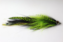 Black and Chartreuse Green Jointed Muskie Fly with Fish Skull Fish Mask.