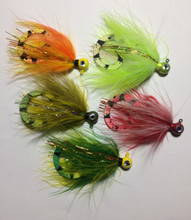 Palmered Marabou Jigs - Hot Perch, Chartreuse, Golden Olive, Red / White, Firetiger - with perch curly teaser tails.