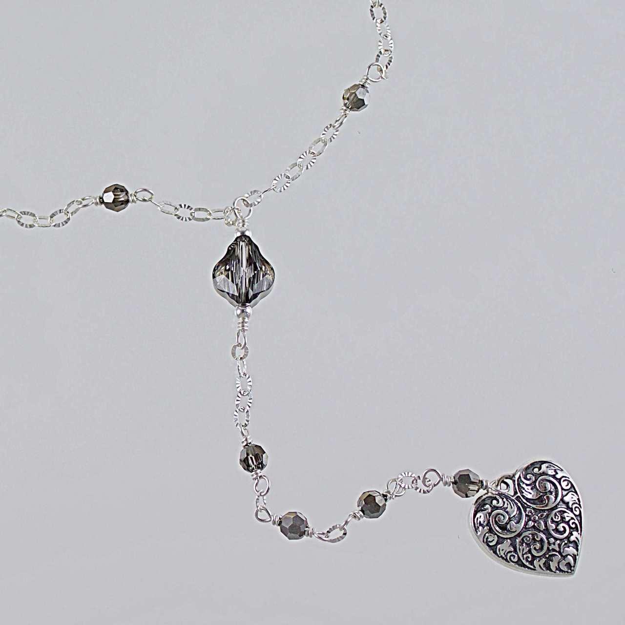 82ed45ef6819b Silver Night Swarovski Crystal & Sterling Silver Y Necklace