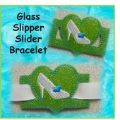 IN The Hoop Ribbon Slider Bracelet Heart With Glass Slipper/Shoe Embroidery Machine Design