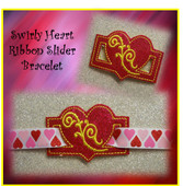In The Hoop Ribbon Slider Bracelet Heart with Swirl Embroidery Machine Design