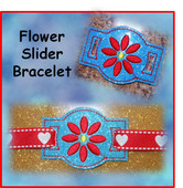 In The Hoop Ribbon Slider Bracelet Flower Embroidery Machine Design