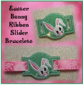 In The Hoop Ribbon Slider Bracelet Easter Bunny Embroidery Machine Design