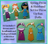 In the Hoop Spring Dresses with Hairbands Designs For Dress Up Fun Dolls Embroidery Machine Designs