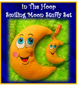 In The Hoop Smiling Moon Stuffie Embroidery Machine Design Set