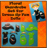In the Hoop Dress Up Fun Doll Floral Wardrobe Embroidery Machine Design Set