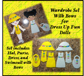 In The Hoop Dress Up Fun Doll Wardrobe with Bows Embroidery Machine Design Set