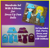In The Hoop Dress Up Fun Doll Wardrobe with Ribbons Embroidery Machine Design Set