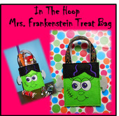 In The Hoop Mrs. Frankenstein Treat Bag Embroidery Machine Design
