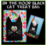 In The Hoop Black Cat Halloween Treat Bag Embroidery Machine Design