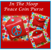 In The Hoop Coin Purse With Peace Symbol Embroidery Machine Design