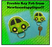 In The Hoop Freebie Key Fob Car With Peace Symbol Embroidery machine Design
