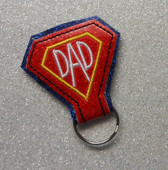In The Hoop Key Fob DAD In Diamon Embroidery Machine Design
