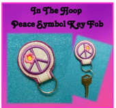 In The Hoop Key Fob with Peace Symbol Embroidery Machine Design