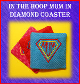 In The Hoop Coaster MUM with Diamond Embroidery Machine Design