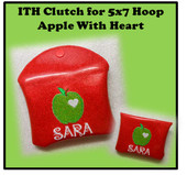In The Hoop Clutch Apple with Heart for 5x7 Hoop Embroidery Machine Design
