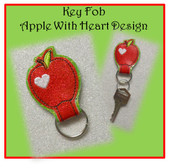 ITH Key Fob Apple With Heart Embroidery Machine Design