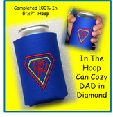 ITH Can Cozy DAD In Diamonds Embroidery Machine Design