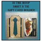 In The Hoop Suit n Tie Gift Card Holder Embroidery Machine Design