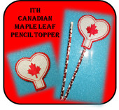In The Hoop Heart Pencil Topper with Maple Leaf Embroidery Machine Design