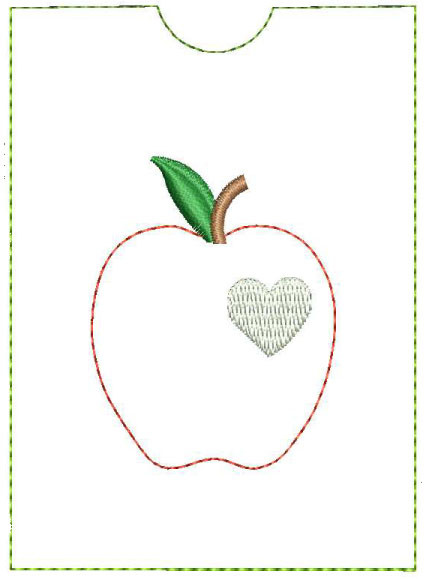 In The Hoop Gift Card Holder With Apple Machine Embroidery