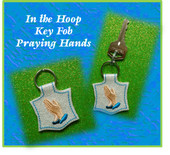 In The Hoop Key Fob Praying Hands Embroidery Machine Design