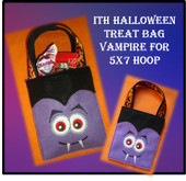 In The Hoop Halloween Teat Bag Vampire Embroidery Machine Design for 5x7 Hoop