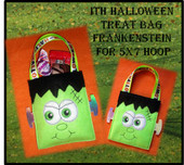 In The Hoop Halloween Treat Bag Frankenstein Embroidery Machine Design for 5x7 Hoop
