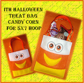In The hoop Halloween Treat Bag Candy Corn Embroidery Machine Design for 5x7 Hoop