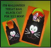 In the Hoop Halloween Treat Bag Black Cat Embroidery Machine Design for 5x7 hoop
