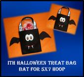 In The Hoop Haloween Treat Bag Bat Embroidery Mahine Design for 5x7 Hoop