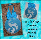 In The Hoop Elegant Ornament Mom and Baby Embroidery Machine Design