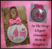 In The Hoop Elegant Ornament Mom and Daughter 1 Embroidery Machine Design