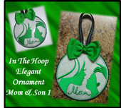 In The Hoop Elegant Ornament Mom and Son 2 Embroidery Machine Design