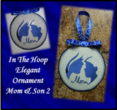 In the hoop Elegant Ornament Mom and Son 1 Embroidery Machine Design