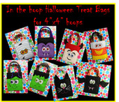 "In The Hoop Halloween Treat Bag Embroidery Machine Design Set for 4""x4"" hoops"