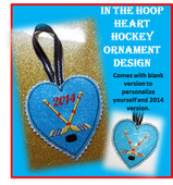 In The Hoop Heart Hockey Ornament Embroidery Machine Design Set