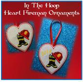 In The Hoop Heart Fireman Ornament Embriodery Machine Design Set