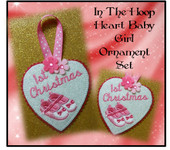 In The Hoop Heart Baby Girl Ornament Embroidery Machine Design Set