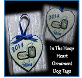 In The Hoop Heart Dog Tag Ornament Embroidery Machine Design