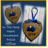 In The Hoop Heart Police Ornament Embroidery Machine Design